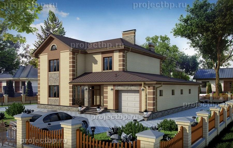 Проект двухэтажного дома с гаражом на два автомобиля в классическом стиле 272-B